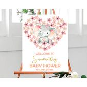 Elephant Baby Shower Welcome Sign, Personalized Shower Welcome Sign, Customized Baby Shower Sign, Pink Gold Welcome Sign, Printable File,A2 – Taylor's baby