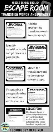 Transition Phrases – Escape Room – Center College English