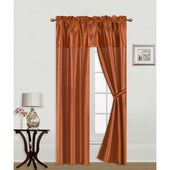 5Pc Set Solid Attached Valance Tie Back Window Curtains Orange 54″x63″(Faux Silk)