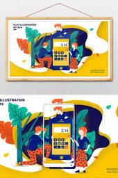 isometric yellow flat financial business technology office illustration poster | Illustration PSD Free Download – Pikbest