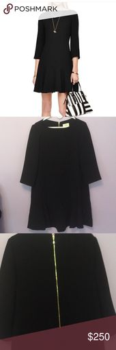 🔥 SALE 🔥NWT Kate Spade Crepe Flounce Dress Boatneck, 3/4 sleeves, back zip… – My Posh Picks
