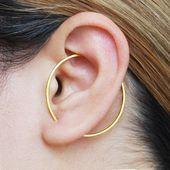 Bracelet d'oreille carré, manchette d'oreille d'or, boucle d'oreille carrée de cerceau, boucles d'oreilles géométriques, boucles d'oreilles d'or, manchette d'oreille, boucle d'oreille de grimpeur, cerceaux d'or, cerceau minimal