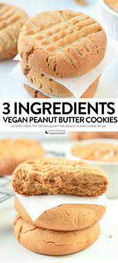 3 INGREDIENTS VEGAN PEANUT BUTTER COOKIES #vegancookies #peanutbuttercookies #3i…