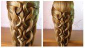 Einfache und schnelle Frisur lange Haare lange / mittellange Frisur Geflecht …   – Haare Flechten Videos