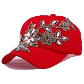 Women diamond flower baseball caps adjustable bone denim hats summer lady jeans hats hip hop cap  – Products