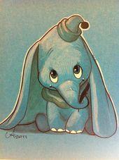 Meine Disney Zeichnung – Ein Vintage-Dumbo-Kindergarten in Grau und Blau mit kleinen Knallern in Gelb und – #Blau #Disney #Dumbo #Grau #Meine