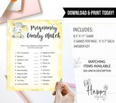 Baby Shower Songs Yellow Elephant Candy Match Game, Printable Baby Games, Pregnancy Candy Match, Elephant Baby Shower,
