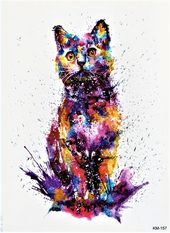 Cat Watercolor Wild Animal Colorful Temporary Body Tattoo Fake 5,9×8,2 inch KM157