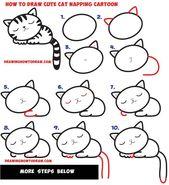 Wie zeichnet man ein Supercute Kawaii / Cartoon Cat / Kitten Nickerchen leicht Schritt für Schritt