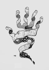 mystische Hand – Strichzeichnungstintenfeder Schwa…
