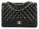Chanel Classic Flap Classic Double Quilted Maxi Black Lambskin Leather Shoulder Bag