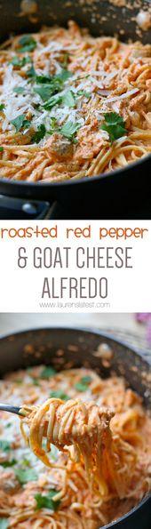 Gebratener roter Pfeffer u. Ziegenkäse Alfredo   – Recipes to try