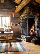 60 Stunning Log Cabin Homes Fireplace Design Ideas (52