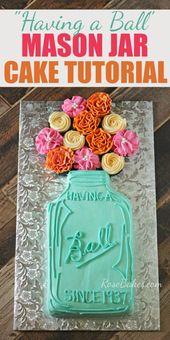 Mason Jar Cake mit Blumen – Ein Tutorial zeigt Ihnen Schritt für Schritt, wie Sie …   – Cakes