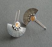 Moonstone sterling silver fan earrings. Handmade. MADE TO ORDER,#earrings #handm…