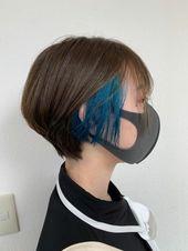 ショート インナーカラー ビビットブルー カット インナーカラー7500円 yahoo beauty インナーカラー インナーカラー ブルー トレンドヘア