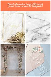Rectangle golden frame on a marble background | premium image by rawpixel.com / …