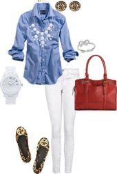 Montre pour femme : White denims, chambray shirt, J.Crew bubble necklace, Marc Jacobs white ceramic…