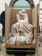Auguste Rodin The Kiss 1901-4 being cased after loan to the Royal Academy