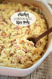 Chicken Cordon Bleu Rice Bake Chicken ham swiss cheese sour cream chicken – Ham …