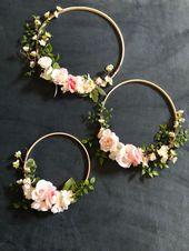 Conjunto de 3 aros de flores, guirnalda, fondo floral, decoración de la boda del jardín, boho chic foto prop por encargo, pieza de pared floral vivero