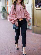 Band Collar Plaid Bishop Sleeve Shirts&Blouses – ebuytide blouse for women blo... 11