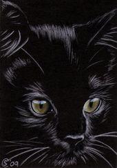 Black CAT Katze Halloween Chat Noir 156 Zeichnung Malerei Sandrine Curtiss Art …