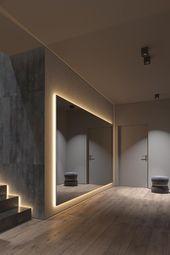 Dark gray home decor with warm LED lighting – #Dark gray #Interior #LE …