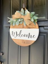Welcome wood sign. Hanging Entry sign. Front door sign. Lambs ear. Floral sign. Farmhouse modern sign. Farmhouse decor. Entryway decor