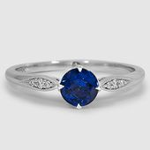 18K White Gold Jolie Diamond Ring // Set with a 5.5mm Round Blue Sapphire #Brill…
