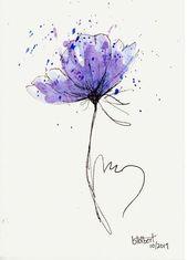 Blume zeichnen lernen, zeichnen mit Bleistift, lila Blume zum Nachmalen für Anf…