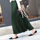 Women casual chiffon maxi skirt spring summer pleated multi colors flared high w…