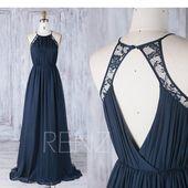 Navy Blue Bridesmaid Dress Chiffon Halter Wedding Dress Lace Ruched Top Key Hole Back Prom Dress A-Line Sleeveless Ball Gown (J230)