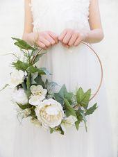 Bridal flower hoop cream wreath floral wreath peony hoop alternative bouquet bridal bouquet bridesmaid modern wreath fern hoop flower ring