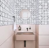 Black + White + Pink. Ultra funky tiles in the bathroom. Domino meets butter-cheese …