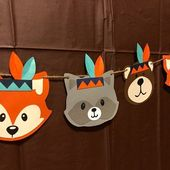 Wild one birthday, tribal animals, tribal, woodland party, wild one banner, indian, baby indian, two wild, wild one, fox, bear, woodland
