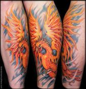 Phoenix Tattoos auf Kalb TattooNOW: Tätowierungen: Brandon Schultheis: Phoenix Tat …,  #auf…