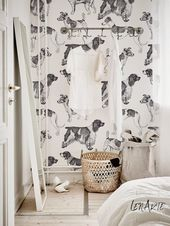 Vintage Dogs Wallpaper -Black and White – Romantic Pattern – Vintage – Removable Wallpaper – Wall Decor – Wall Covering – Wall Sticker – 99