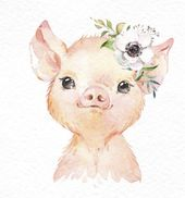 Granja Piglet Donkey Cordero. Acuarela pequeños animales clipart, bebé cerdo país, gafas de sol divertidas, flores, niños corona, arte de la guardería, baby-shower
