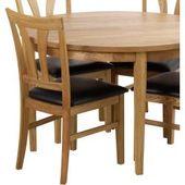 Esstisch aus massiver Eiche, runder ausziehbarer Tisch (5 Teile) 4 …   – Products