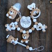 Set PDF patterns My little Bear – Stroller Chain, Baby Rattle, Pacifier Chain and Bottle Cover/ Amigurumi