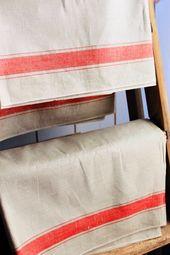 Wunderschönes Leinen Leinen Handtuch mit breiten Streifen #etsy # Haushalt …   – altes Leinen