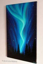 Nordlichter Kunst Ölgemälde auf Leinwand Nachthimmel Aurora Borealis Kunst Nordlichter Große Malerei Aurora Leinwand Valentines Geschenk