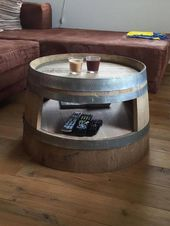 Wine barrel coffee table with inlet floor nature   – Ideen wohnen