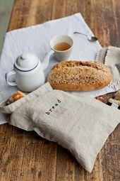 Gedruckte Leinen Brottasche für die Lagerung von Lebensmitteln, mit Kordelzug. Nachhaltige und natürliche Art und Weise, die Produkte zu halten