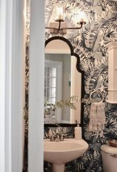 Powder Room Makeover with Wallpaper