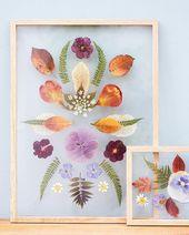 Drücken Sie Blumen und Blätter und zeigen Sie sie in feinen Nähten … #DiyProject Drücken Sie Blumen …