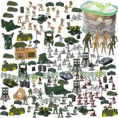 300 Piece Army Action Figure Set, Military Toy Soldier Playset with Tank & Plane, Blue