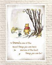 Winnie the Pooh Print, Classic Pooh, Pooh Wall Art, Pooh Art Prints, Piglet, Piglet Quotes, Pooh Nursery Art, Birthday Gift, Christmas Gift