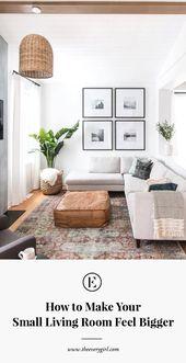 6 geniale Möglichkeiten, um Ihr kleines Wohnzimmer so viel größer wirken zu lassen #theeverygirl   – Home Decor Inspiration